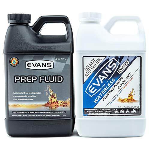 EVANS Coolant EC72064-EC42064 Powersports Waterless Coolant 1/2 Gallon and Prep Fluid 1/2 Gallon, Combo Pack