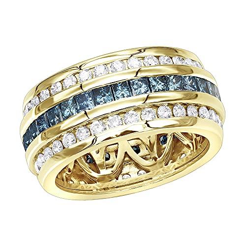 Anillo de eternidad de diamante blanco y azul de 2,64 quilates con corte princesa y redondo para hombres en plata 925 chapada en oro de 14 quilates, ancho: 9 mm