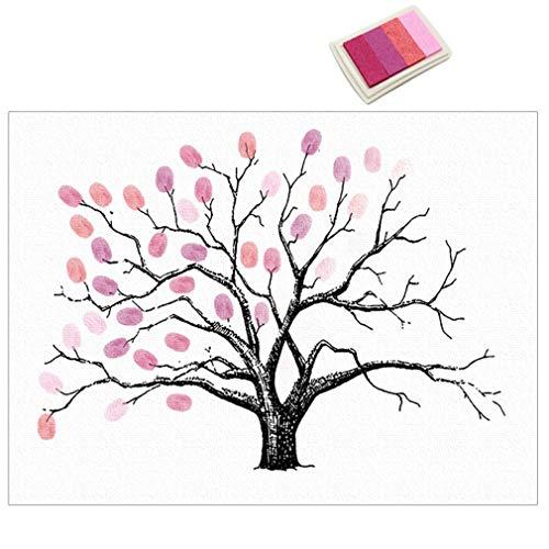 DGdolph Selbstklebende Fingerabdrücke Malerei Party Gast Unterschrift Baum Dekor Leinwand Pink