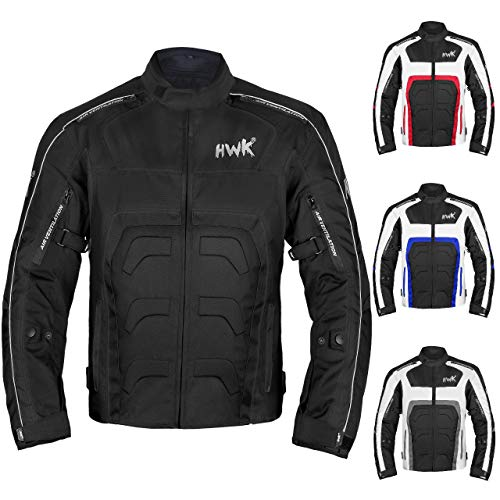 Textile Motorcycle Jacket For Men Dualsport Enduro Motorbike Biker Riding Jacket Breathable CE ARMORED WATERPROOF (Black, 3XL)