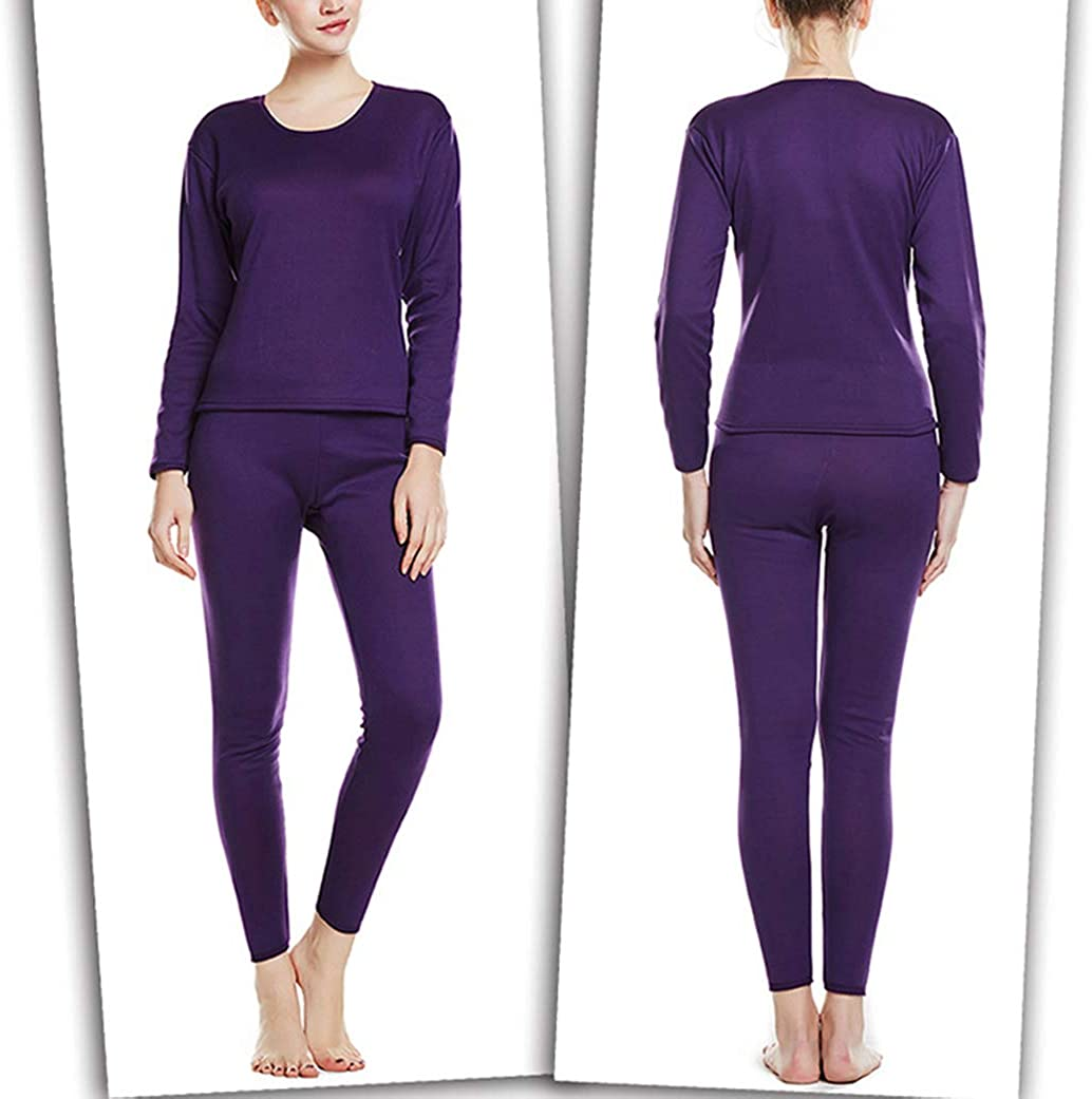 Femaroly Women's Thermal Underwear Set Stretch Comfy Base Layer Long Johns with Fleece Lined