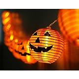 OurWarm Halloween Lights 10LED Pumpkin String Lights Battery Powered Orange Lanterns for Halloween Party Indoor Outdoor Decorations, 4 Ft