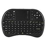 Mini teclado inalámbrico, 92 teclas Teclado QWERTY Ergonómico Teclado de control remoto retroiluminado blanco innovador para decodificador de escritorio/portátil/TV para automóvil/HTPC/Android