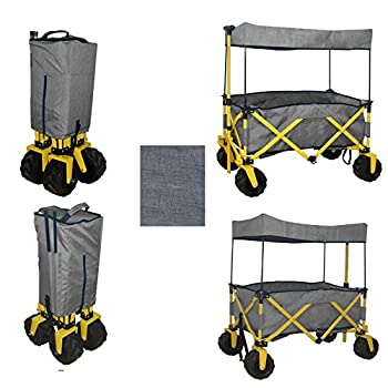 GREY JUMBO WHEEL FOLDING WAGON ALL PURPOSE GARDEN UTILITY BEACH SHOPPING TRAVEL CART OUTDOOR SPORT COLLAPSIBLE WITH CANOPY COVER GRAY - EASY SETUP NO TOOL NECESSARY - COMPACT FOLDED SIZE SPACE SAVING