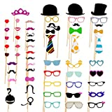 AniiKiss Colorful Photo Booth Props 58 Pieces DIY Mask Mustache Stick...