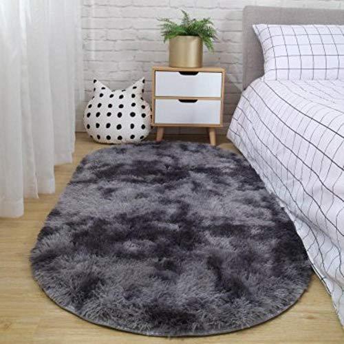 LLAAIT Teppich Schlafzimmer Ovaler Nachtteppich Nicht fusselfrei Nicht verblassende Decke Wohnzimmer Sofa Couchtisch rutschfeste Matte Boden Zimmer Plüschteppich, dunkelgrau, 40x60cm