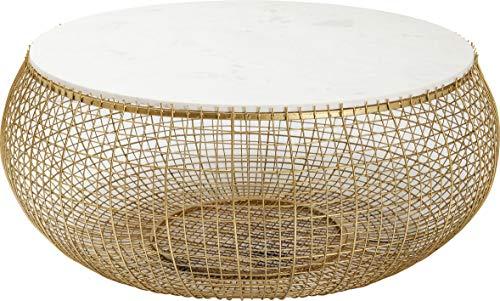 Kare Design Couchtisch Cesta Marmor Gold Ø100cm, großer, runder Couchtisch mit goldenem Flechtgestell und Marmorplatte Weiß, eleganter Beistelltisch Retrostil, (H/B/T) 42x102x102cm