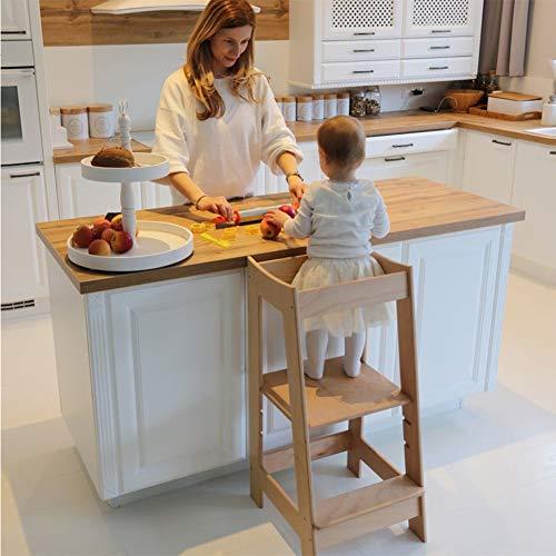 HBIAO Taburete de Cocina para niños, Taburete de Madera de Torre de pie para niños con Plataforma de pie Ajustable, para Aprendizaje de encimera de Cocina,Natural