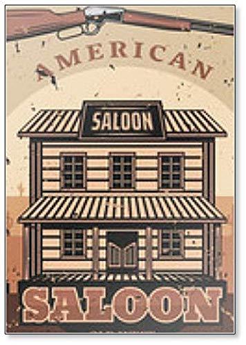Wild West Retro Illustratie, Amerikaanse Saloon en Geweer Koelkast Magneet