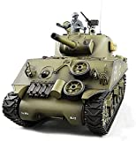 Control remoto de radio a escala 1/16, Sherman M4A3 a gran escala Control remoto tanque de juguete, multifunción pista de emisión de metal para adultos modelo militar eléctrico RC tanques