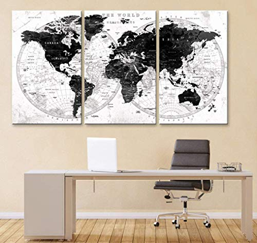 Original by BoxColors LARGE 30'x 60' 3 panels 30x20 Ea Art Canvas Print Watercolor Black white Gray Map World Push Pin cities travel Wall home office decor (framed 1.5' depth) M1828