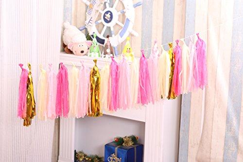 Derhom Tissue Paper Tassel Garland - 20pcs Tassels per Package - 12 inch Long Tassels (Gold/Rose/Pink)