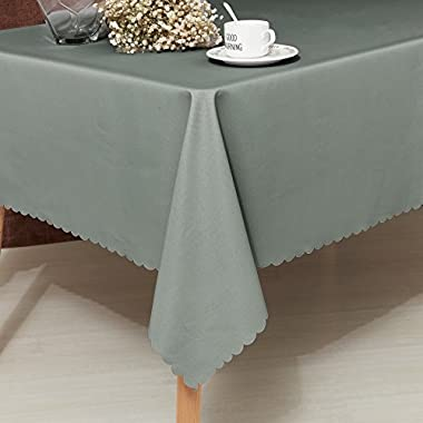 Fassbel Table Cloth 100% Polyester Rectangular Waterproof Table Cover for Dining Table Graduation Parties(60  x 102 , Light Gray)