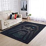 Knowikonwn Lujosas alfombras de Odin Ravens Viking muy lindas y cómodas, para dormitorio, mesita de noche, color blanco, 50 x 80 cm
