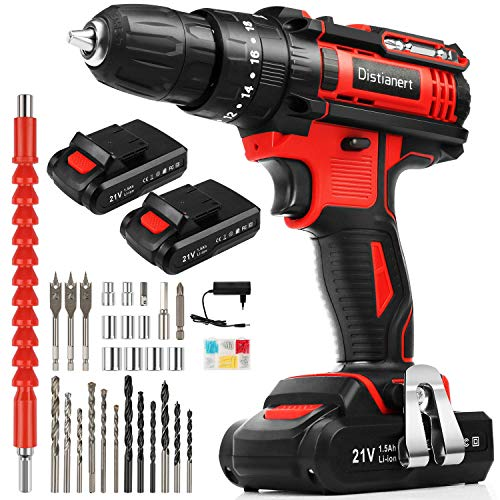 Distianert Cordless Drill Driver 21V, 80Pcs Power Drill Set with 2 Batteries, 18+3 Torque Setting, 3/8' Chuck, Max 35Nm, 2-Speed ​​with LED Light, 3-in-1Electric Screwdriver