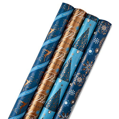 Hallmark Reversible Christmas Wrapping Paper Bundle, Elegant Blues (Pack of 4, 150 sq. ft. ttl.) Navy, Gold, Snowflakes, Peace, Stripes, Geometric
