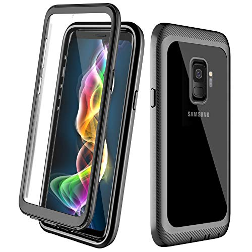 ALOFOX Designed Case for Samsung Galaxy S9 Case, Full Body Rugged Armor Cover Case with Built-in Screen Protector Crystal Clear Case for Samsung Galaxy S9 5.8 inch 2018 Release-(Black+Clear.)