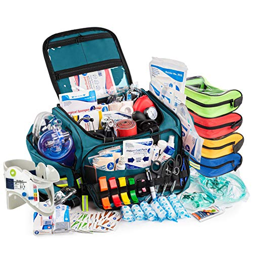 Scherber First Responder Bag   Fully-Stocked Professional Advanced EMT/EMS Trauma Kit   Reflective Bag w/10+ Compartments, Zippered Pockets, Shoulder Strap & 250+ First Aid Supplies - Blue