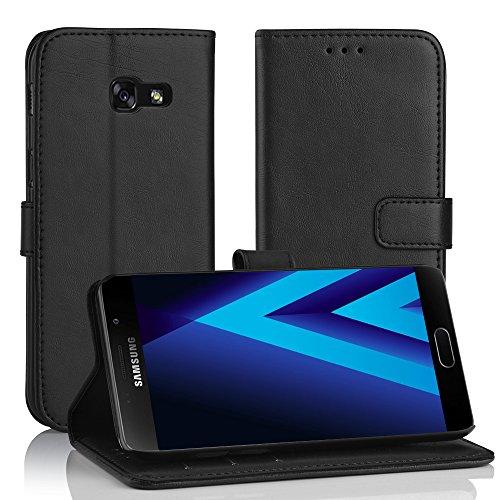 Simpeak Hülle Kompatibel mit Samsung Galaxy A3 2017, Handyhülle Kompatibel für Samsung A3 2017 Leder Flipcase [Kartensteckplätze] [Stand Feature] [Magnetic Closure Snap] - Schwarz
