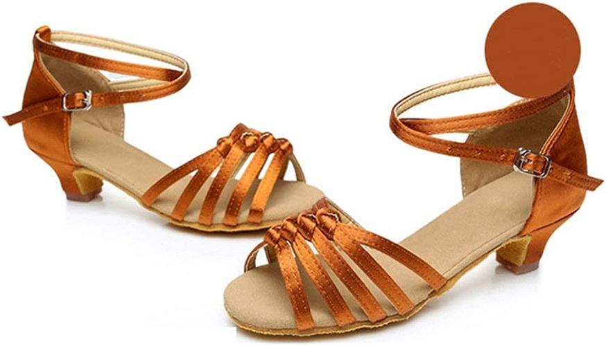 XIE66 Chaussures de Jazz Nouvelles Filles nouées Chaussures de Danse Latine Souples de 4,5 cm à mi-Talon (Couleur   A9, Taille   34)