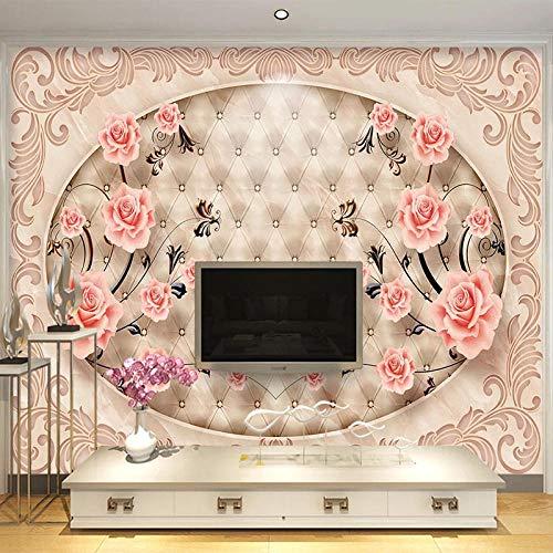 ZJfong behang in Europese stijl, marmer, 3D-tegels, bloemen, fotobehang, muurschilderingen, woonkamer, tv, sofa, slaapkamer, decoratie thuis 140x70cm