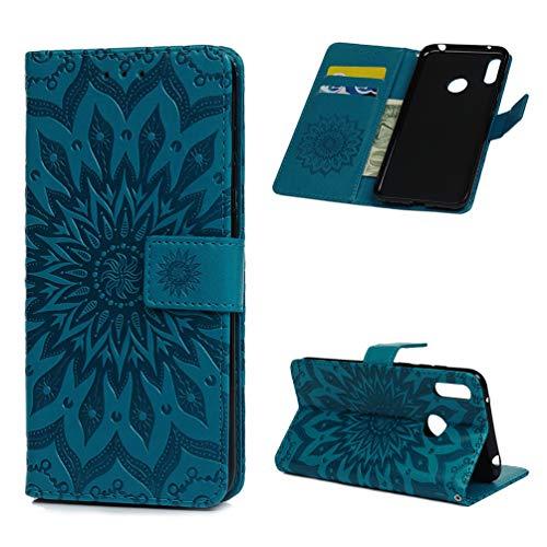 Y7 2019 Handytasche Kompatible für Huawei Y7 Prime 2019 Hülle Mandalas Blume Muster Flip Case Cover PU Leder Tasche Handyhülle Schutzhülle Skin Ständer Klappbar Schale Bumper Magnet Deckel-Türkis