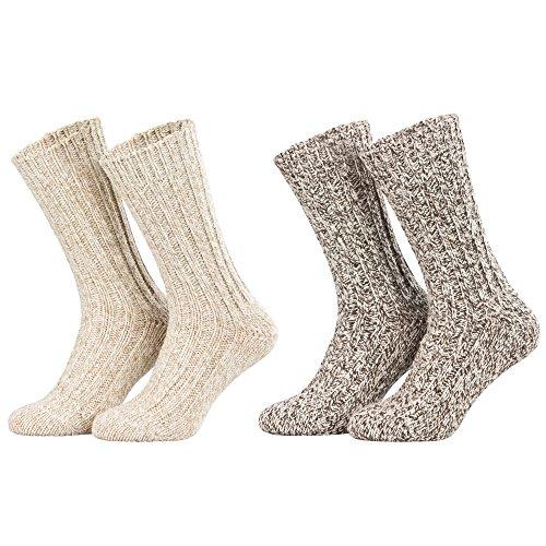 Piarini - Lot de 4 paires de chaussettes norvégiennes chaudes - beige chiné - taille 35-38