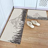 KRWHTS Kitchen Mat Set 2 PCS 16X24in(40x60cm)+16X48in(40x120cm) Mountain Peak, Throw Rugs Non-Slip All-Purpose Carpet for Bedroom Kitchen Home Decorate