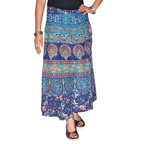 Marusthali Indischer Wickelrock, bedruckt, Baumwolle, Pfauenmotiv, Sarong, Wickelrock, Blau