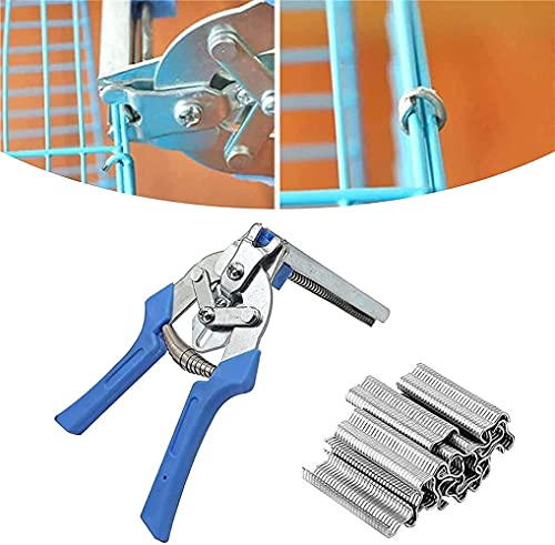 TTCPUYSA Nail Type M and Ring Plier,Type M Nail Poultry Cage Fasten Plier Wire Cage Clamp with 600pcs Nail, for Cage Wire Fencing