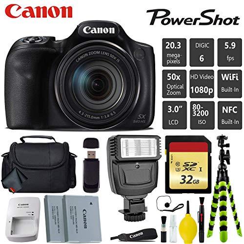 Canon PowerShot SX540 HS Digital Point and Shoot 20MP Camera + Extra Battery + Digital Flash + Camera Case + 32GB Class 10 Memory Card - International Version