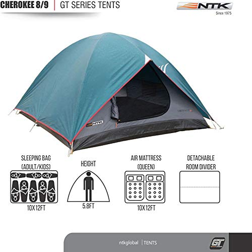 NTK Cherokee GT 8 to 9 Person 10 by 12 Foot Outdoor Dome Family Camping Tent 100% Waterproof 2500mm, Easy Assembly, Durable Fabric Full Coverage Rainfly - Micro Mosquito Mesh