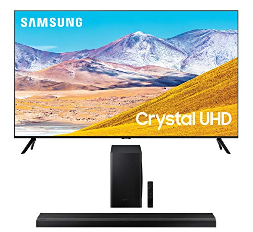 Samsung UN85TU8000 4K Crystal 8 Series Ultra High Definition Smart TV with a Samsung HW-Q70T 3.1.2 Ch Dolby Atmos Soundbar with Wireless Subwoofer (2020)