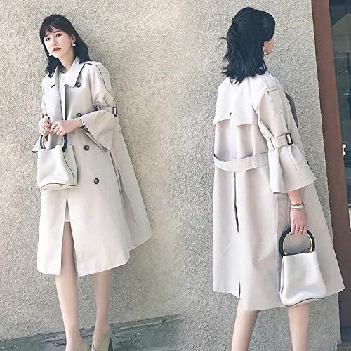 Klassische schlanke Modejacke Trenchcoat winddichter Mantel 2020 Frühling und Herbst neues Khaki-Outfit mittellange, ausgestellte Ärmel über dem Knie lose, schicke Jacke im Hong Kong-Stil - khaki_L