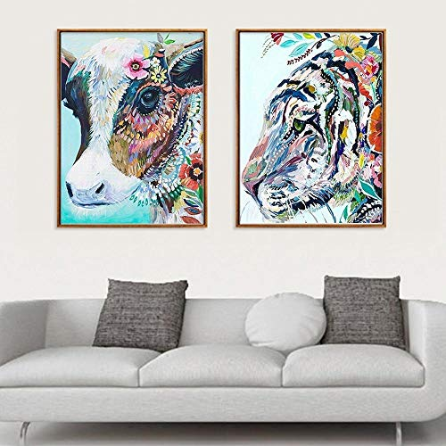Creatieve aquarel bloem dier poster kleur spray stier tijger decoratie schilderij woninginrichting restaurant opknoping foto's-50x70cmx2pcs geen frame