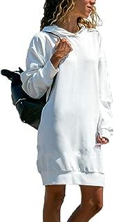 Women's Hoodie Long Tunic Dress Solid Pullover Loose Hoodie Sweatshirt Long Tops