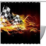 TIZORAX - Banderas a Cuadros con Cortinas para regadera de Fuego con Ganchos para baño, 167,6 x 182,8 cm