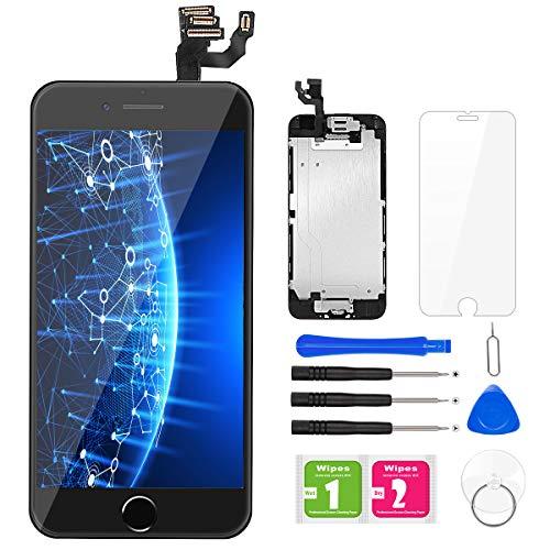 BuTure Para Pantalla iPhone 6 Negro Pantalla Táctil LCD con Cámara frontal, Sensor de proximidad, altavoz, ensamblaje de marco digitalizador y kit de reparación