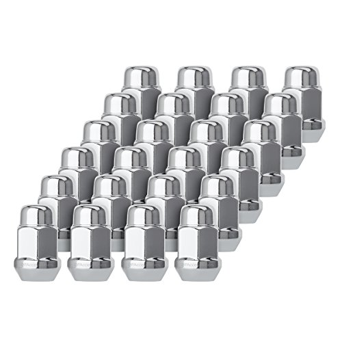"DPAccessories D3112-HT-2305/24 24 Chrome 1/2-20 Closed End Bulge Acorn Lug Nuts - Cone Seat - 3/4"" Hex Wheel Lug Nut"
