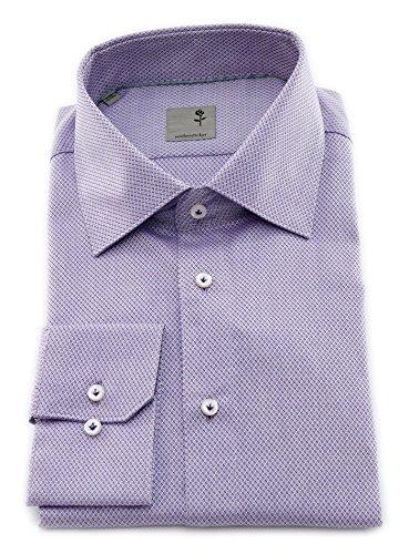 Seidensticker Herren Langarm Hemd Schwarze Rose Slim Fit lila/Flieder strukturiert mit Piping 242030.83 (45, Lila)