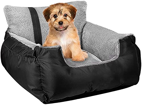 Utotol Dog Car Seat,Puppy Booster Seat Dog Travel Car Carrier Bed with Storage Pocket and Clip-on...