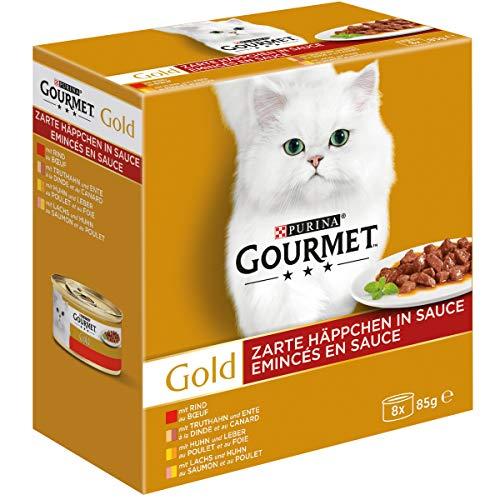 PURINA GOURMET Gold Zarte Häppchen in Sauce Katzenfutter nass, Sorten-Mix, 12er Pack (12 x 8 Dosen à 85g)