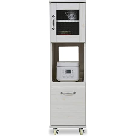JKプラン スリム コンパクト 食器棚 レンジ台 レンジラック 幅 32.5 H120 キャスター付き ミニ キッチン 収納 隙間収納 棚 収納棚 家電収納棚 ロータイプ TSFLL0067WH