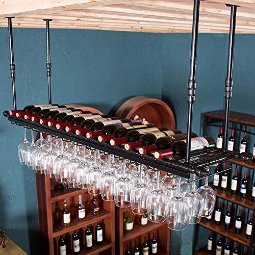 FFJJQAN Estante de Vino, Soporte de Copa de Vino con decoración de Barra Invertida, Soporte de Copa Colgante, Soporte de Vidrio Colgante Simple y Creativo-Negro_El 120cm * los 30cm