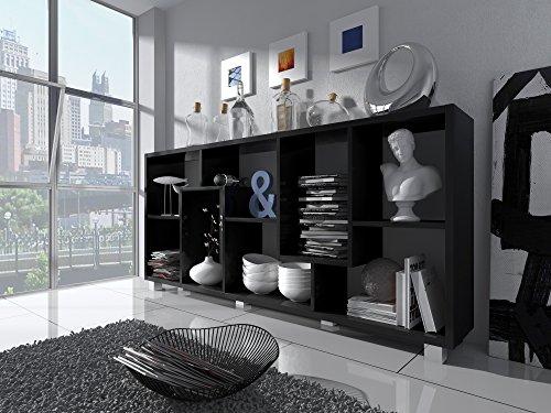 Skraut Home - Libreria a Parete/Divisoria design salon-salla pranzo e soggiorno, 8 scompartimenti portaoggeti, montaggio Orizzontale e Verticale, Nero mate, 68,5 x 161 x 25 cm