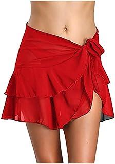 Swimsuit Cover Ups for Women Sarong Beach Wrap Sheer Short Skirt Bikini Bathing Suits Chiffon Scarf for Swimwear Ruffle Mu...