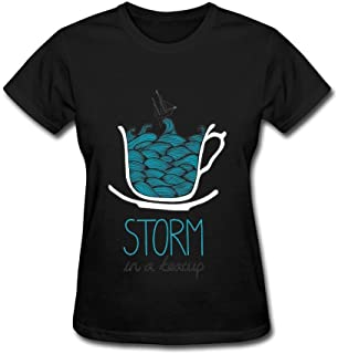 Tommery Storm in A Teacup Design Cotton Women's T-Shirt XXL