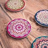 Flanacom Design Untersetzer im 4er Set – Dekorative Keramik Untersetzer für Glas, Tassen, Vasen, Kerzen und Töpfe auf ihrem Esstisch - Premium Boho/Orientalisch Design (4er Set Rund) - 5