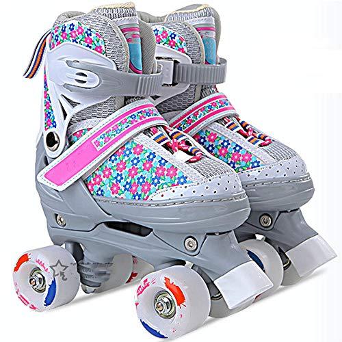 Verstellbare Quad Rollschuhe für Kinder 4-Rad Quad Skates für Jugendliche Kinder Junior Boy Girl Roller Blades Gepolstert Bequeme Rollschuhe PU-Pulver_M (34-38)