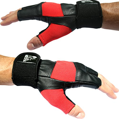 Weight Lifting Gloves with 12' Wrist Support for Gym Workout, Weightlifting, Fitness & Cross Training - Best for Men & Women - by Nordic Lifting - (Red, Medium) -1 Year Warranty